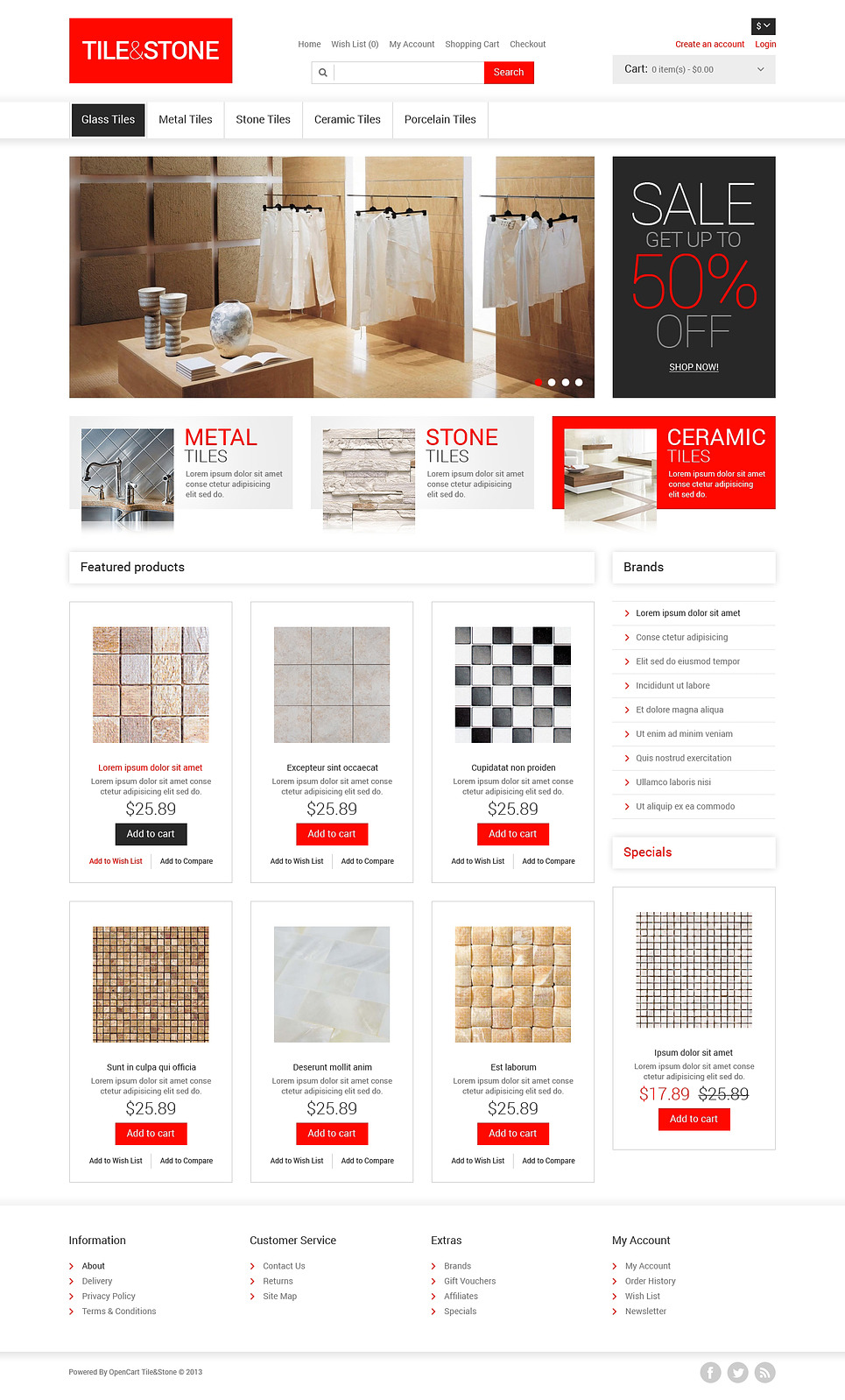 Tile & Stone OpenCart Template New Screenshots BIG