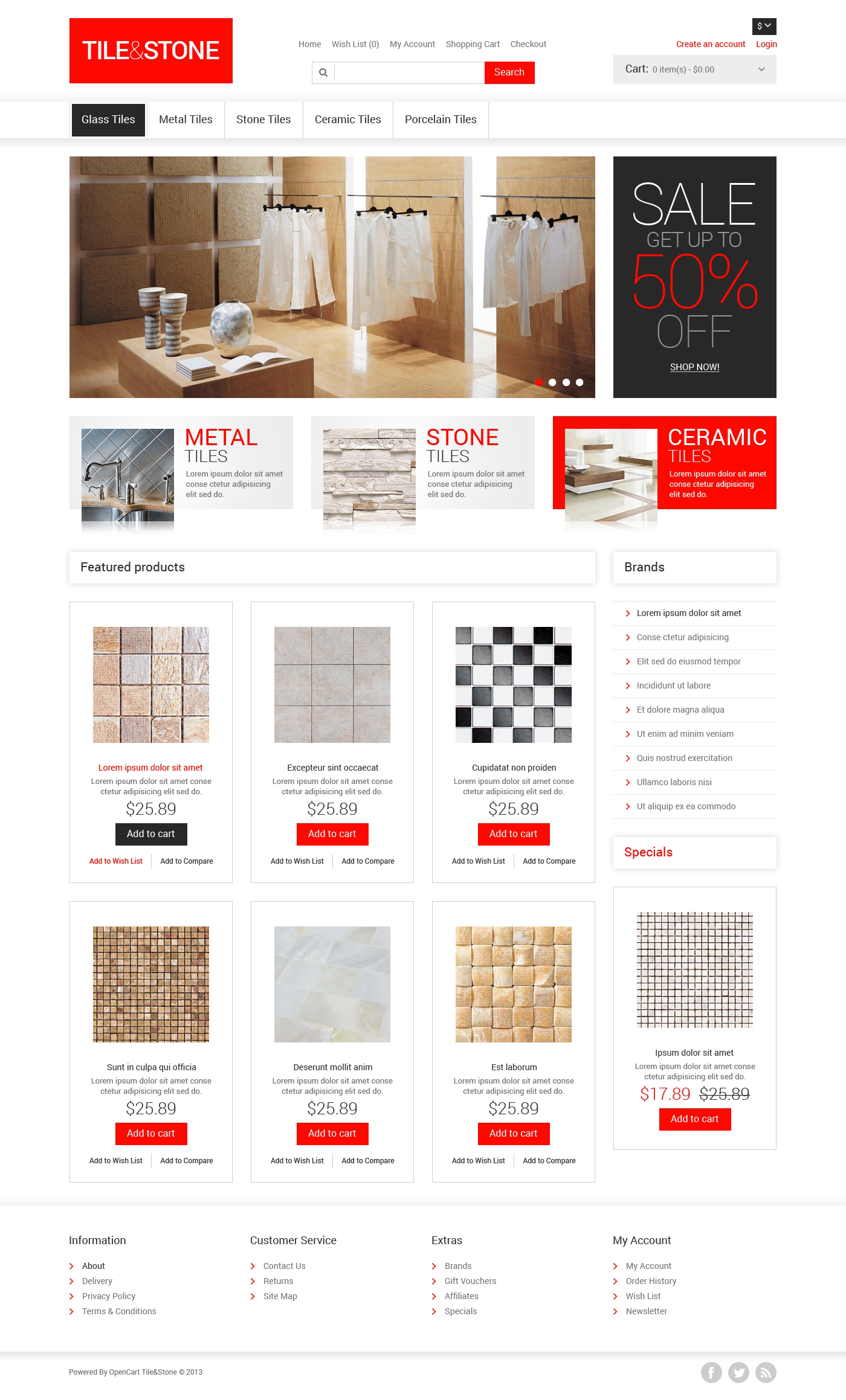 Tile & Stone OpenCart Template #47279