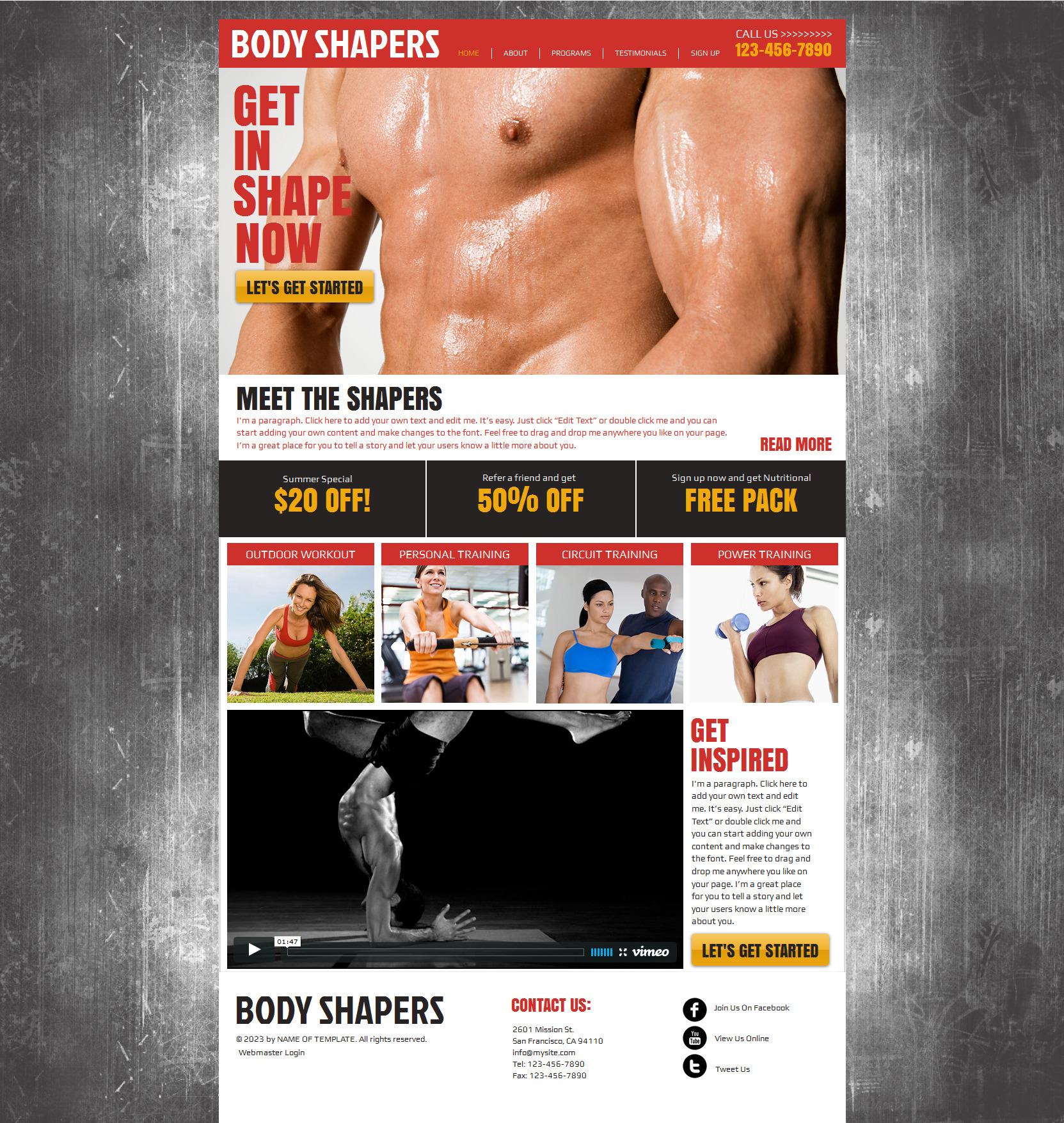 Wix Website Vorlage #47283 für Bodybuilding