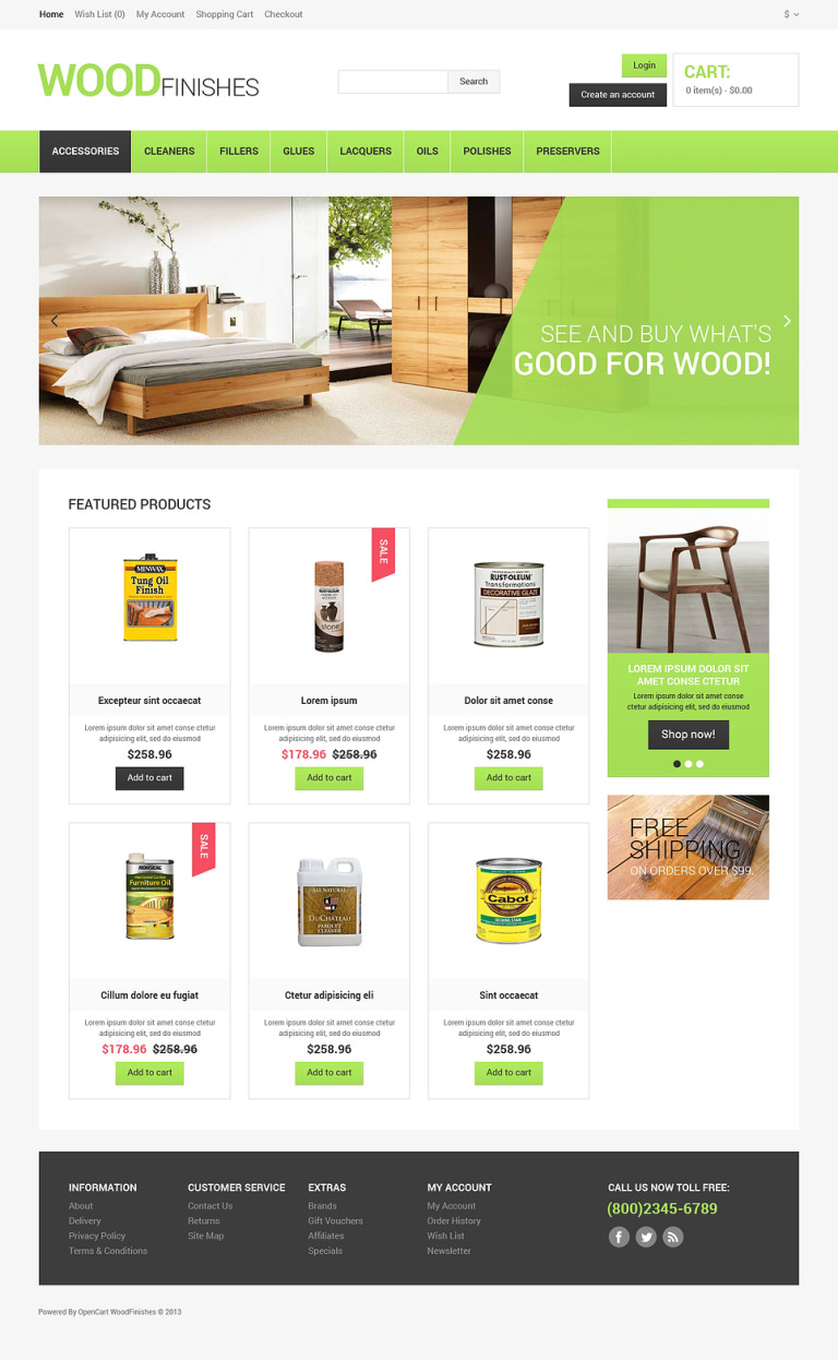 Wood Protection OpenCart Template New Screenshots BIG
