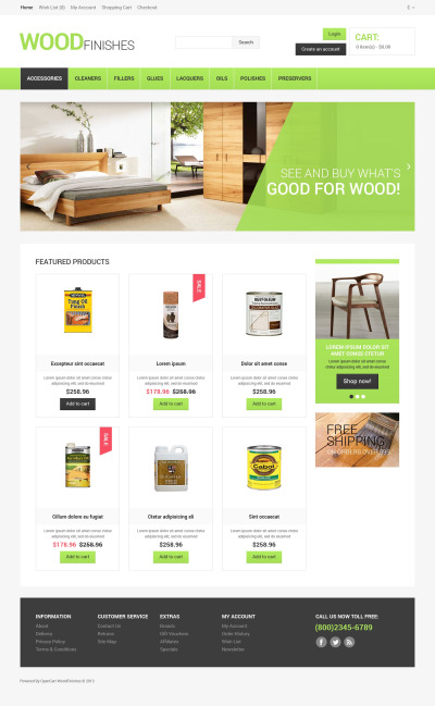 Wood Protection OpenCart Template