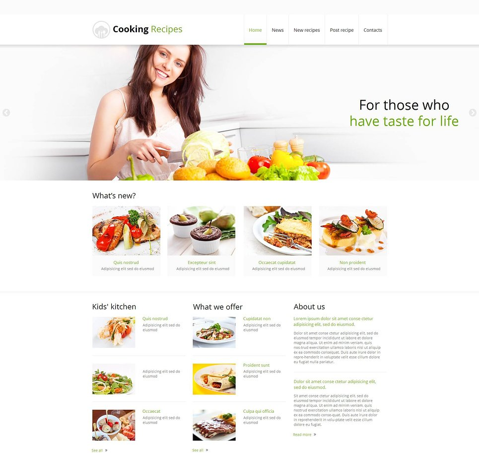 Clean Cooking Website Template with jQuery Slider - image