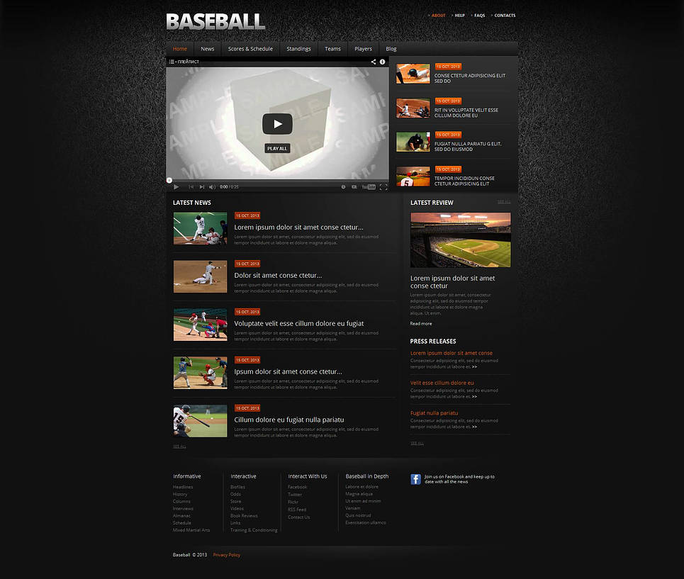 Baseball Web Template with Dark Pattern Background - image