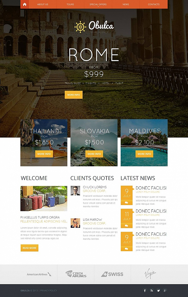 Travel Agency Web Template with Header Content Slider - image