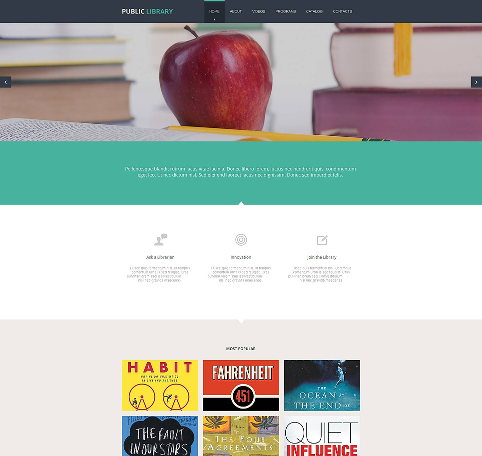 Clean Style Website Template for Public Library - image