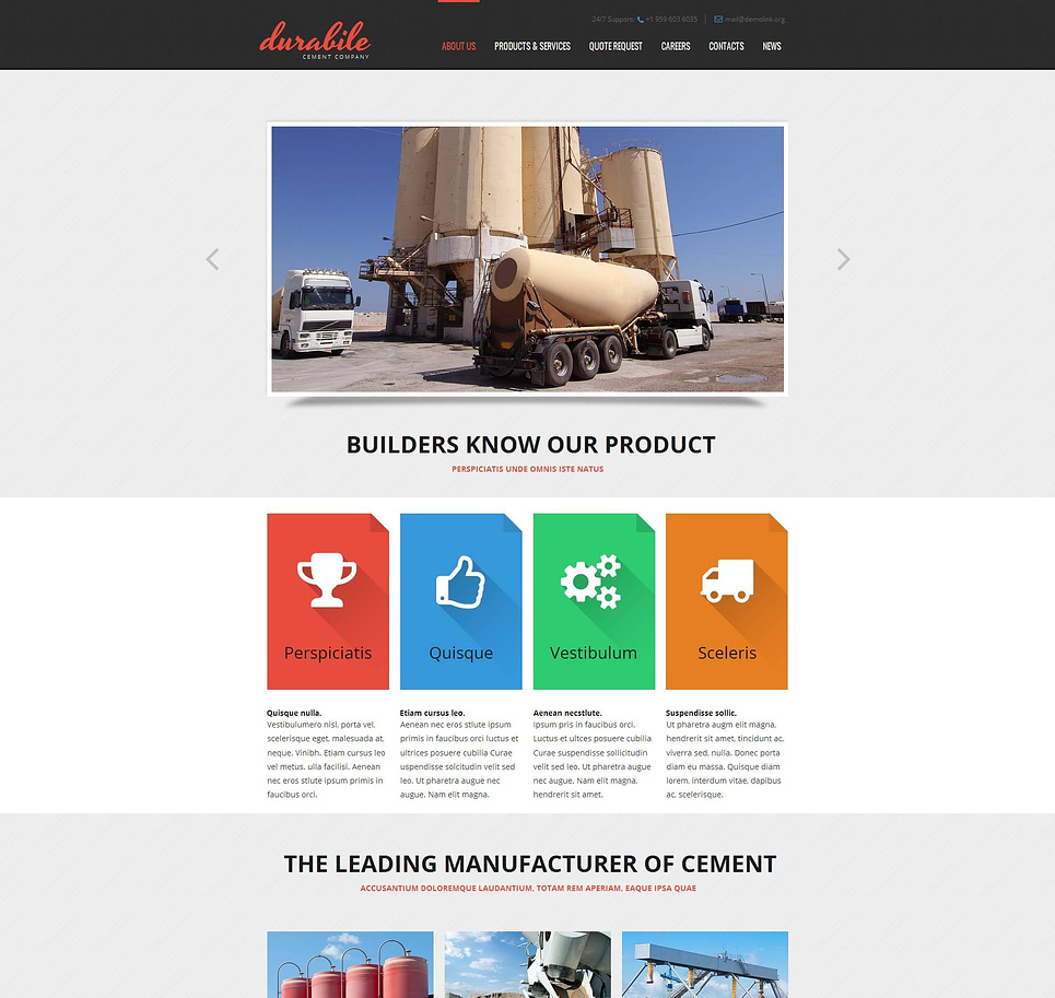 Cement Company Template with Creative Icons on Colorful Background - image