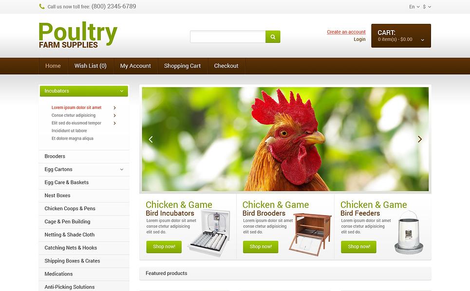 Responsive OpenCart Vorlage für Geflügelfarm  New Screenshots BIG