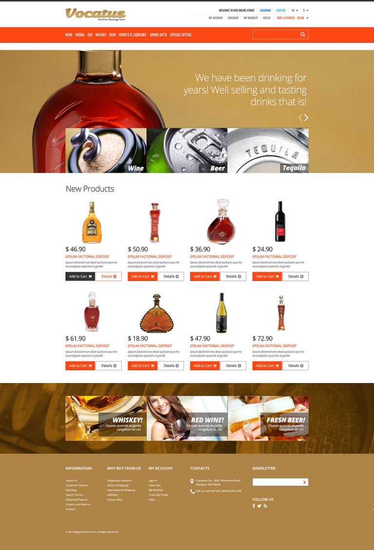 Alcohol for Your Party Magento Theme New Screenshots BIG