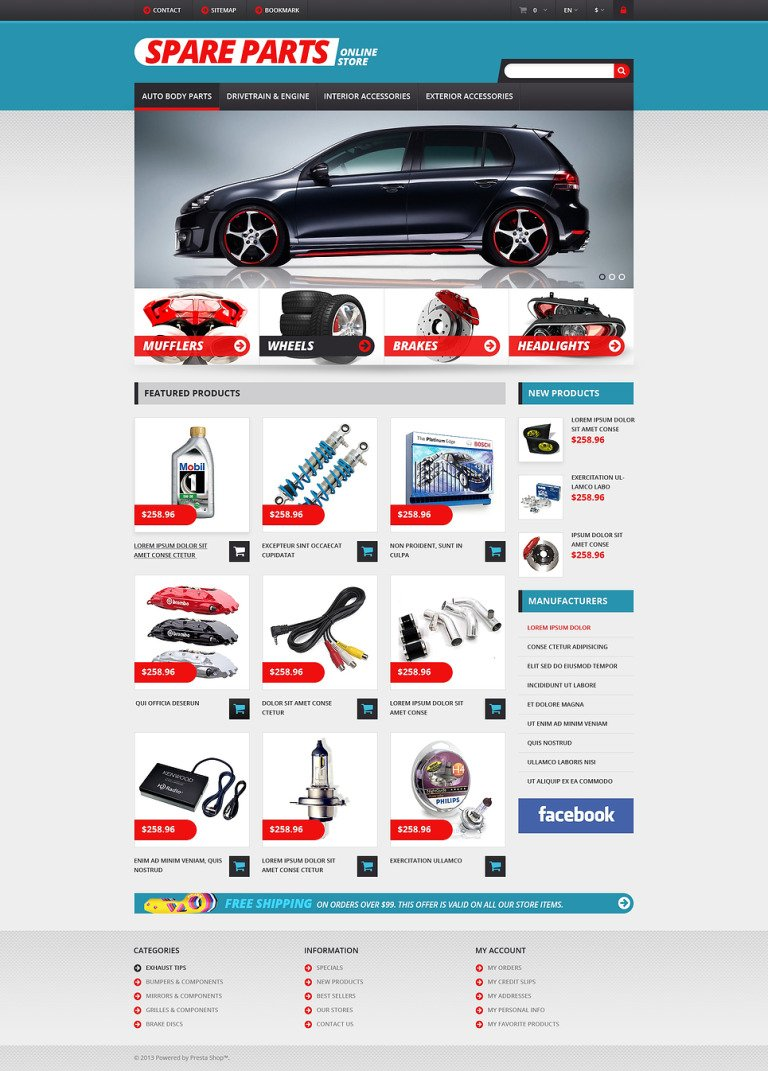 Auto Parts Responsive PrestaShop Theme New Screenshots BIG