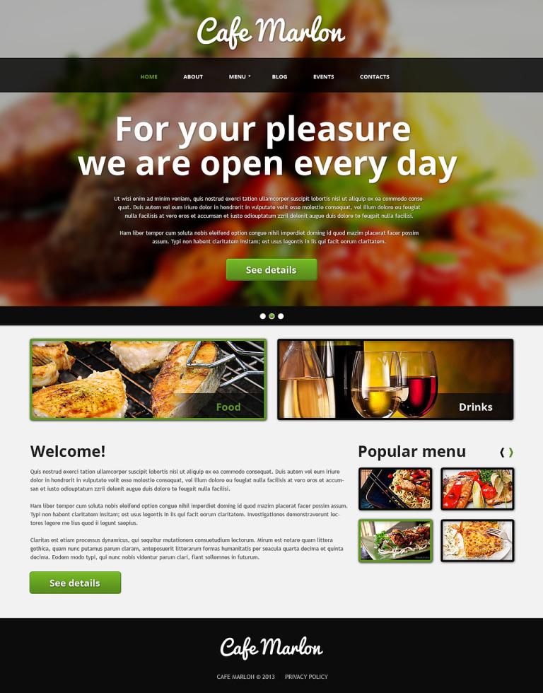 Blurred Cafe and Restaurant Joomla Template New Screenshots BIG