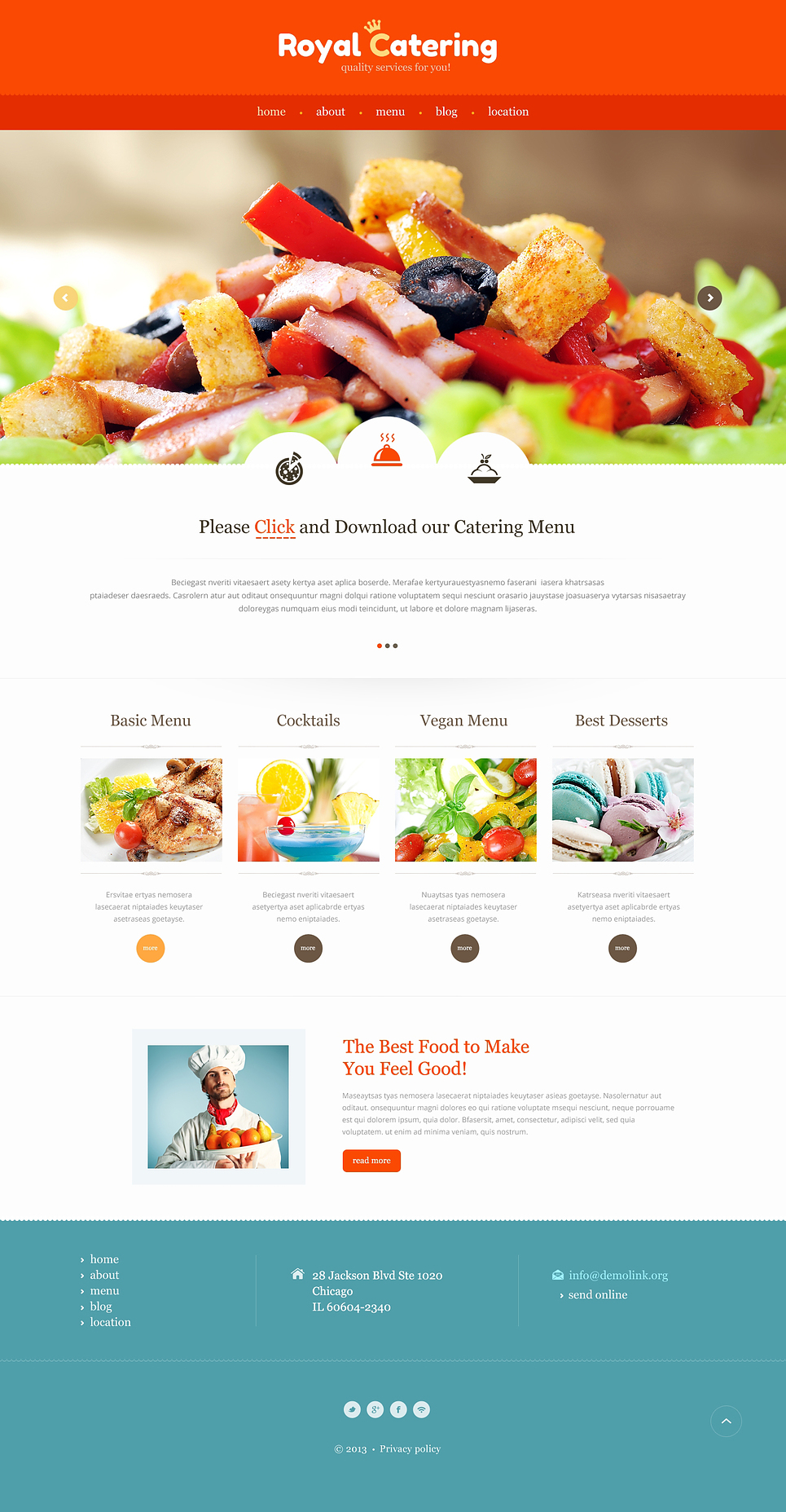 Catering Responsive Website Template #47307