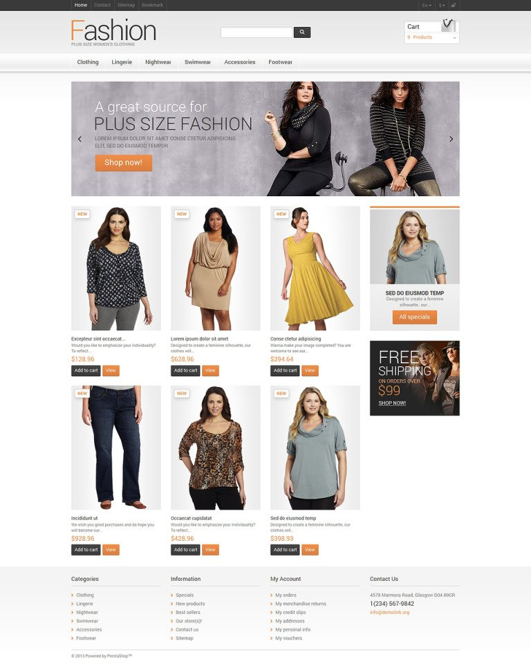 Clothes for Plump Women PrestaShop Theme New Screenshots BIG