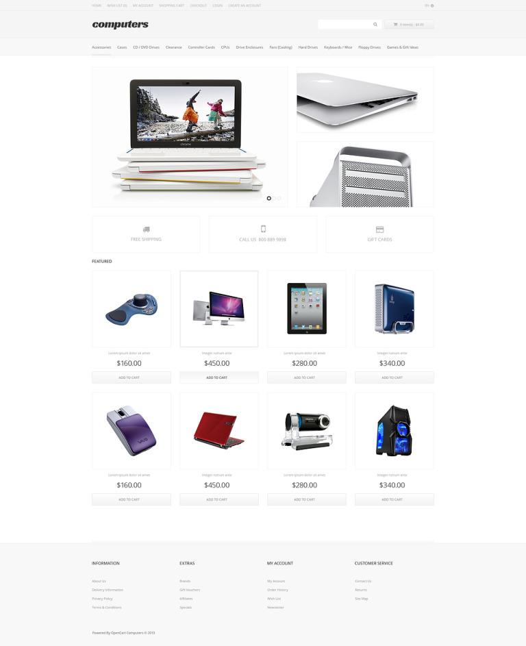 Computer Apparel OpenCart Template New Screenshots BIG