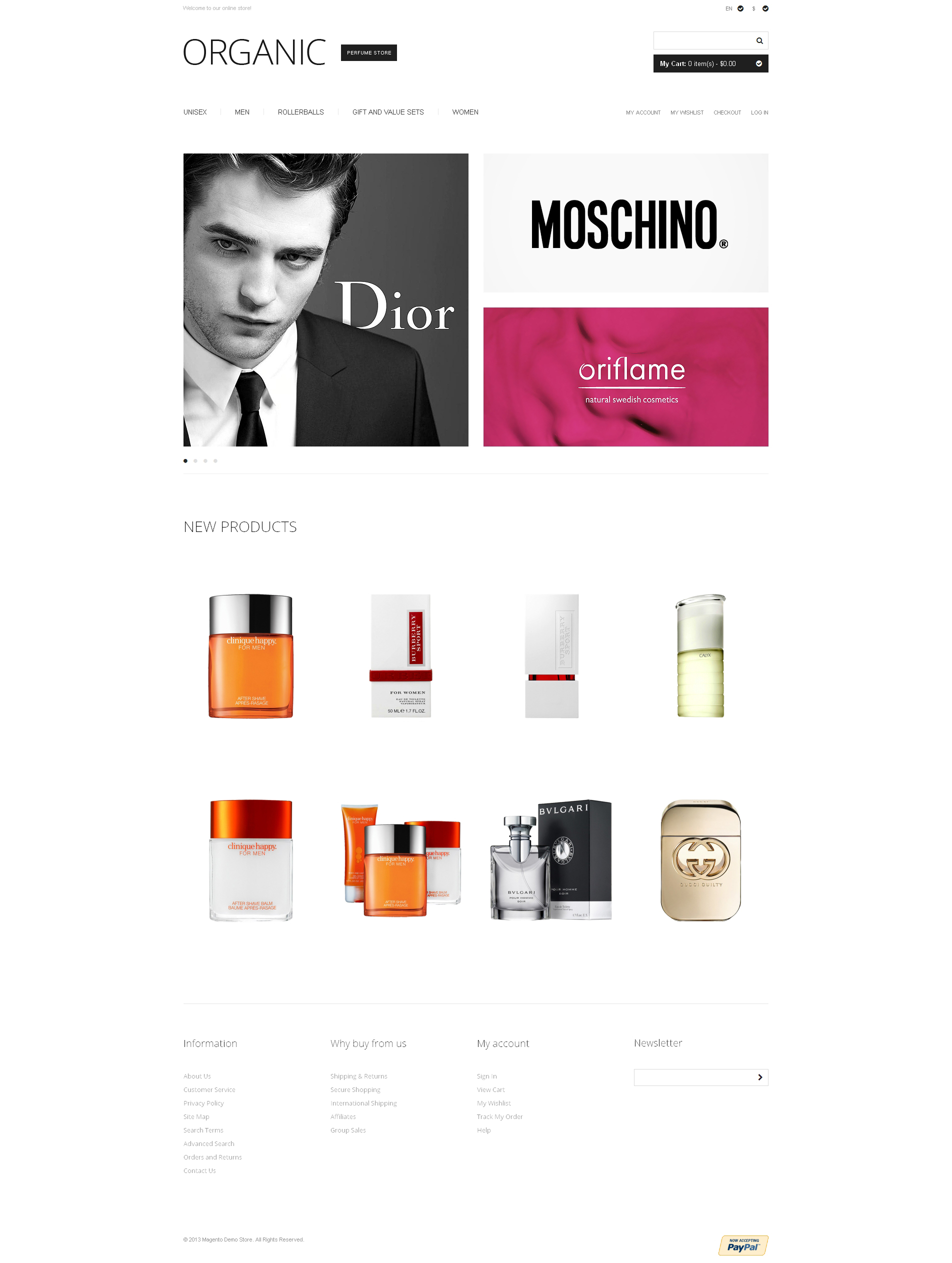 Exclusive Perfumes Magento Theme - screenshot