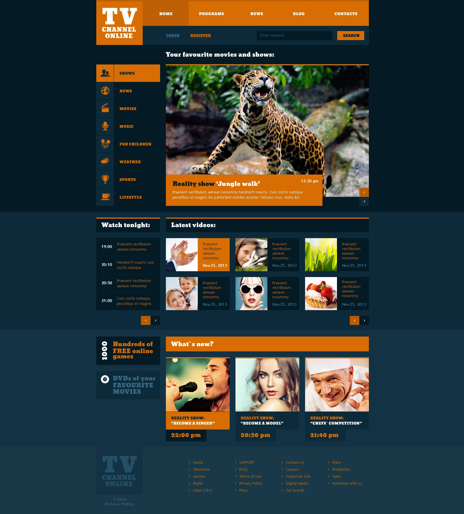Fashionable TV Channel Website Template