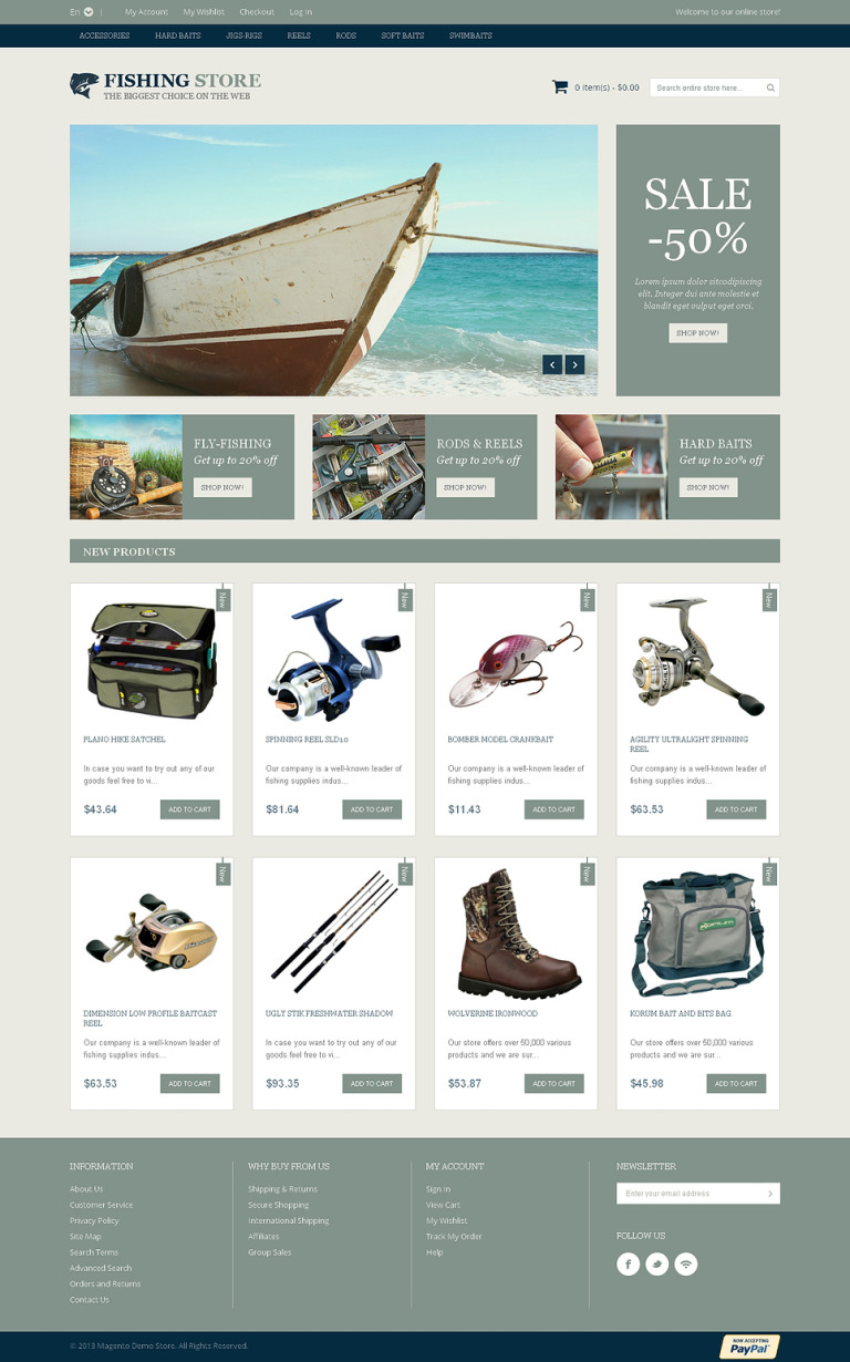 Fishing Accessories Magento Theme New Screenshots BIG