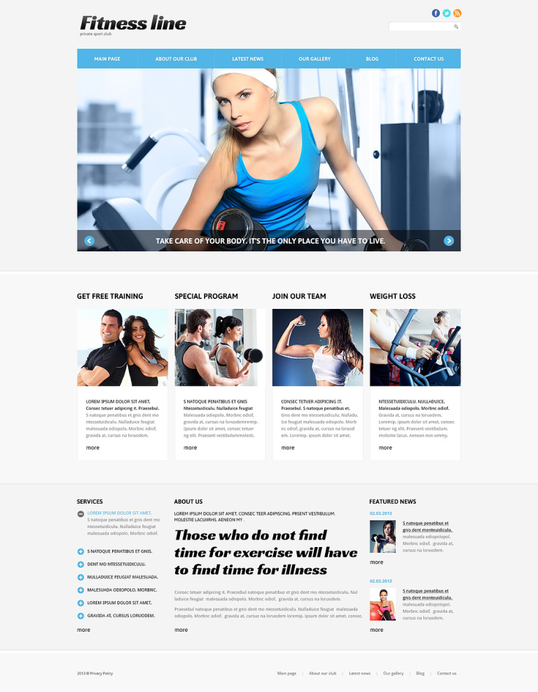 Fitness Club for Profit Joomla Template New Screenshots BIG