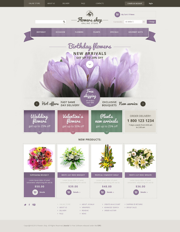 Fresh Flowers VirtueMart Template New Screenshots BIG