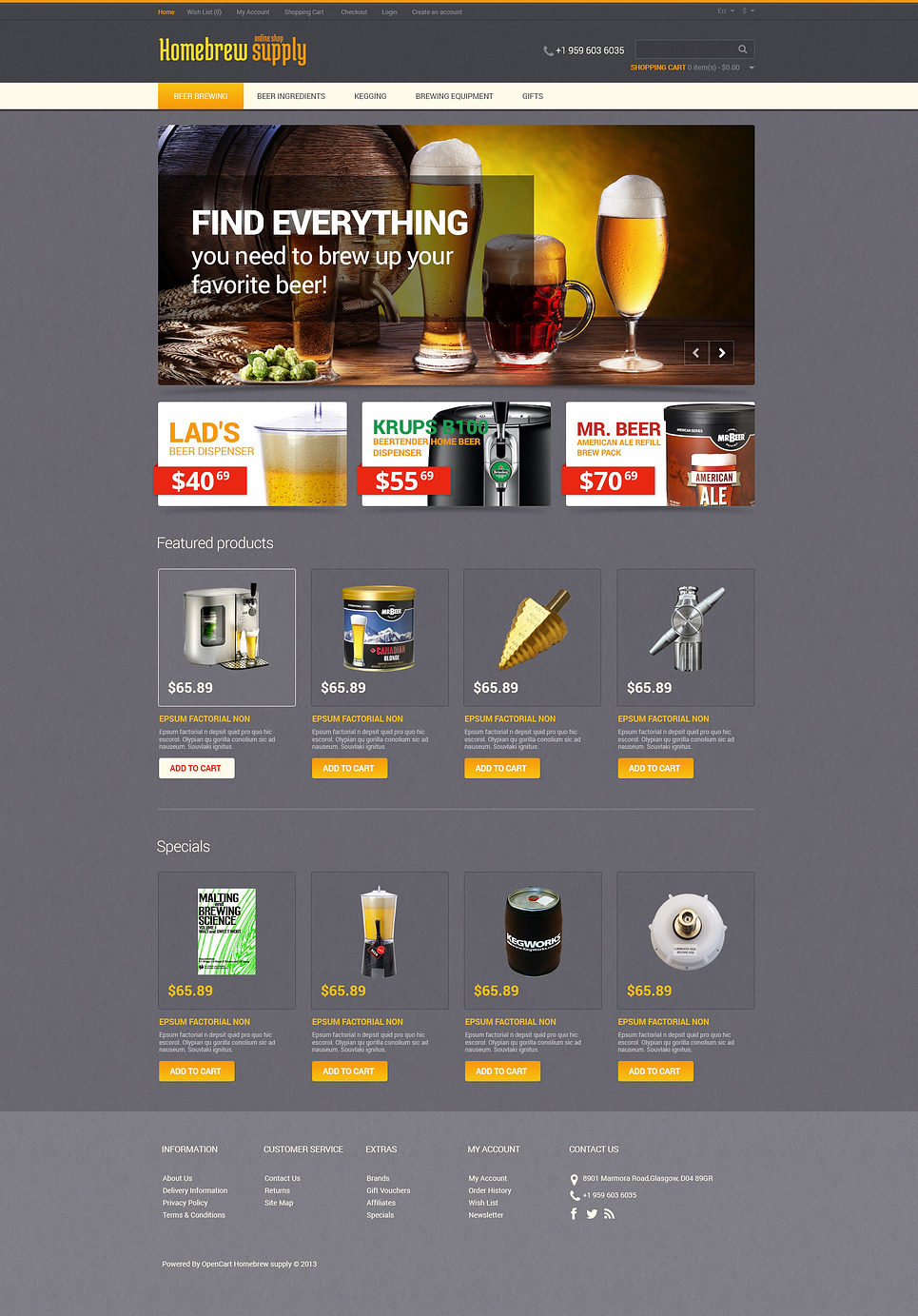 Homebrew Supply OpenCart Template New Screenshots BIG