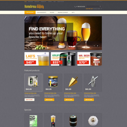Homebrew Supply - OpenCart Template based on Bootstrap