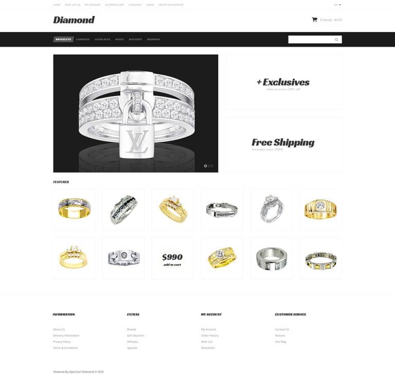 Just Diamond OpenCart Template New Screenshots BIG
