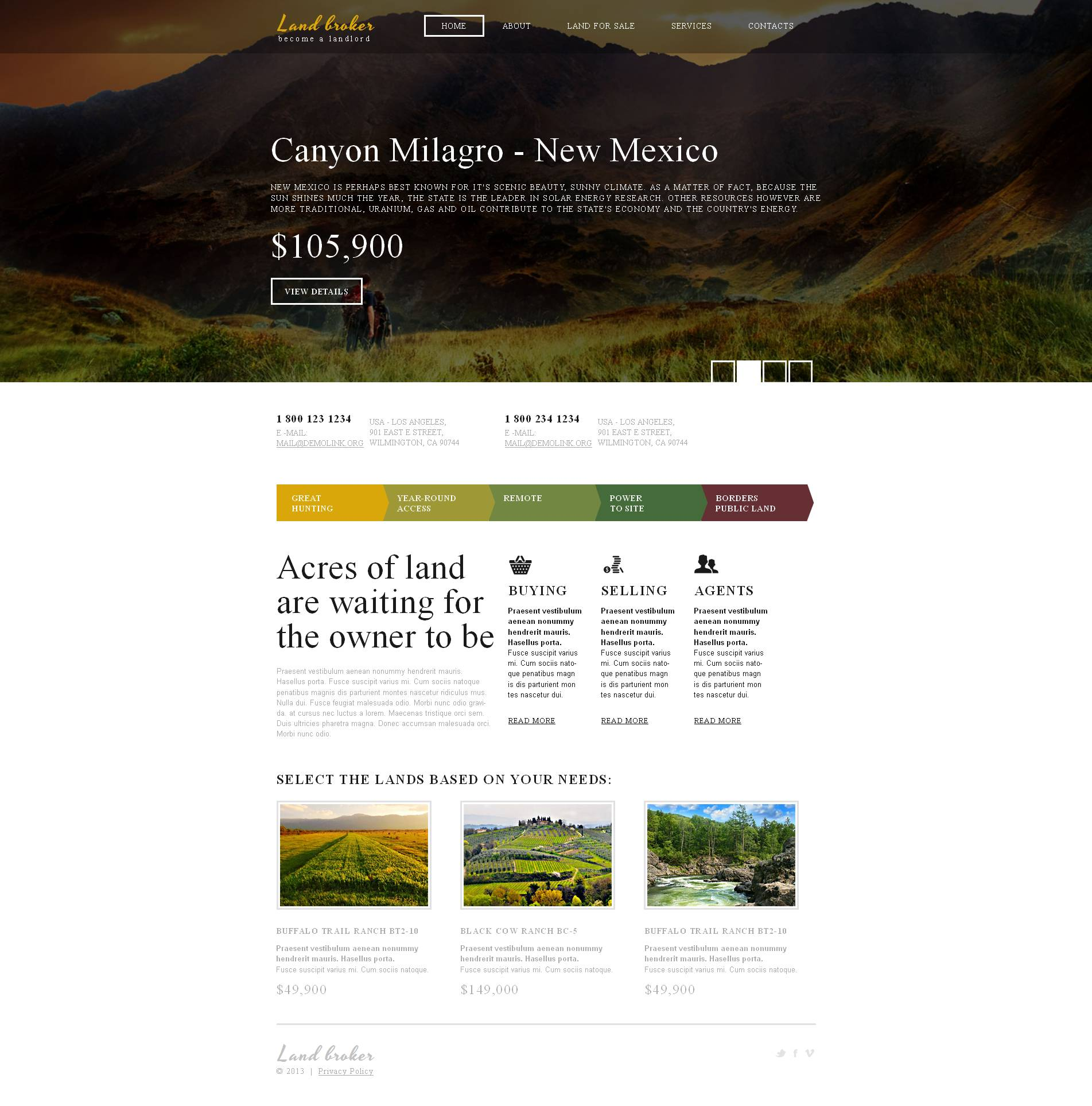 Land Broker Moto CMS HTML Template