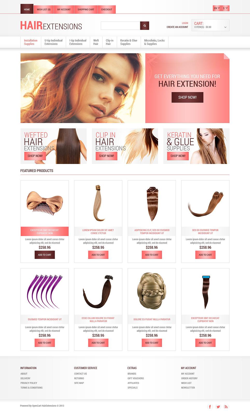 Long Hair OpenCart Template New Screenshots BIG