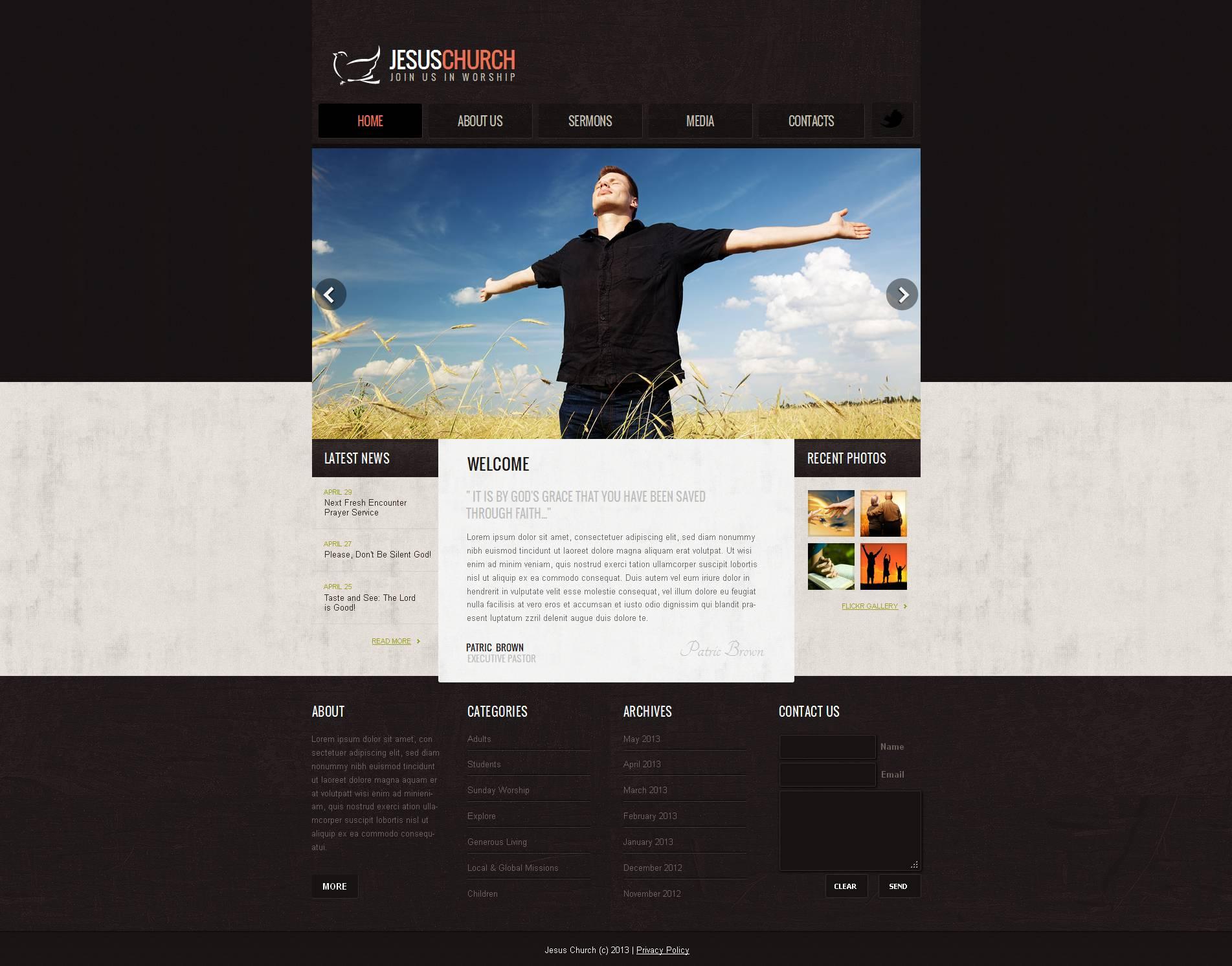 Modèle Moto CMS HTML Premium pour site chrétien #47372