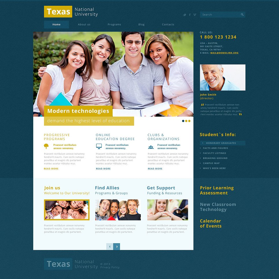 Modern and Fancy University Joomla Template New Screenshots BIG