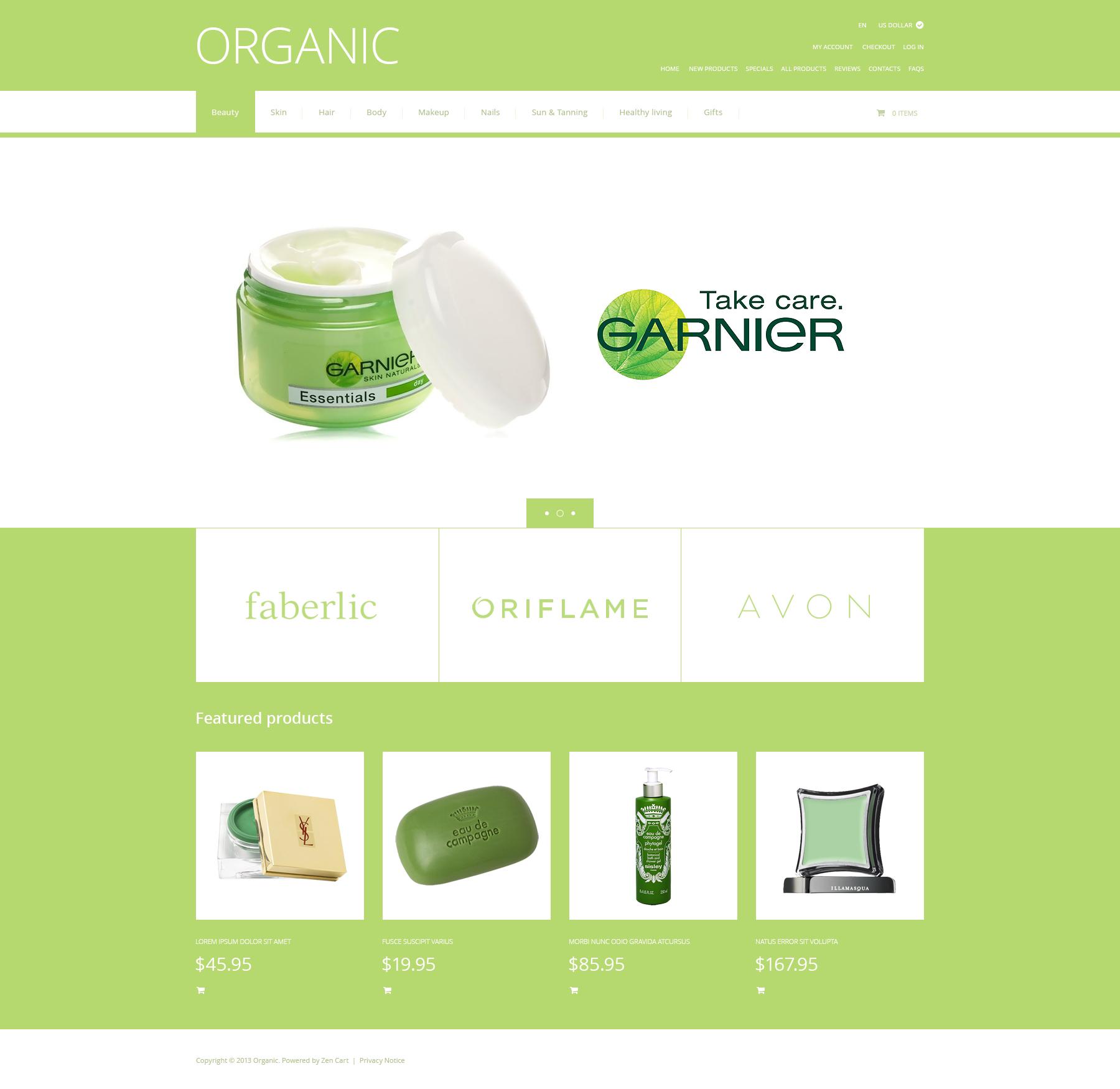 """Organic Cosmetics"" - ZenCart шаблон №47395"