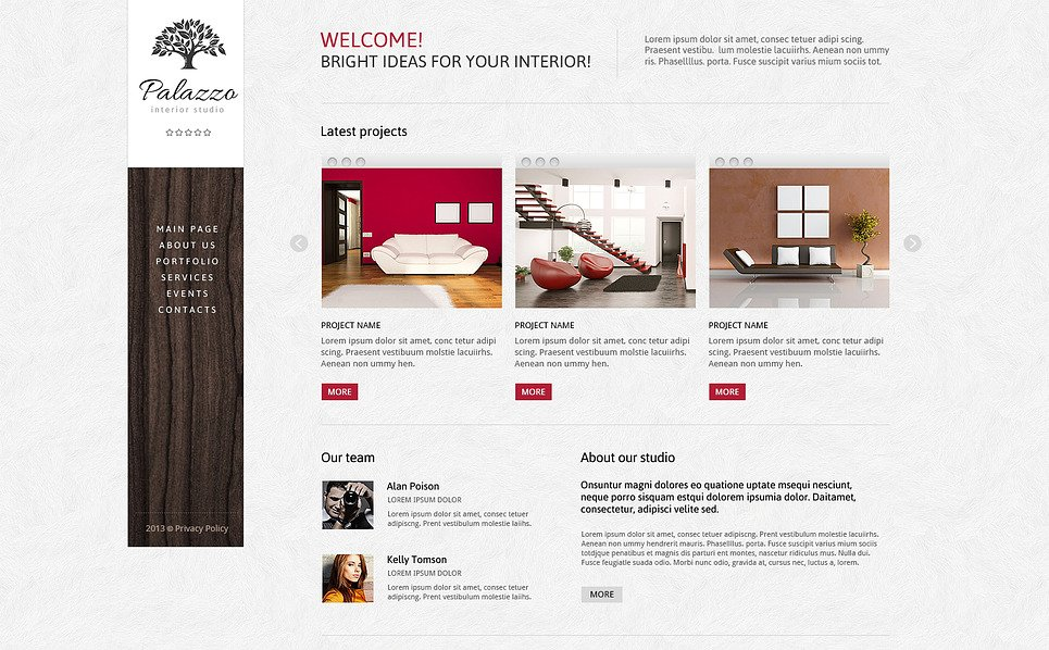Plantilla Joomla Responsive para Sitio de Diseño interior New Screenshots BIG