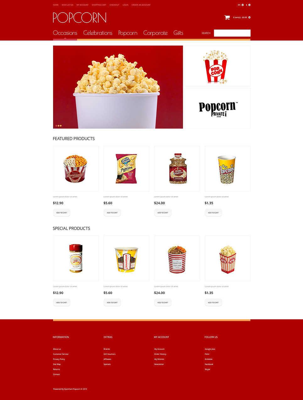 Popcorn OpenCart Template New Screenshots BIG