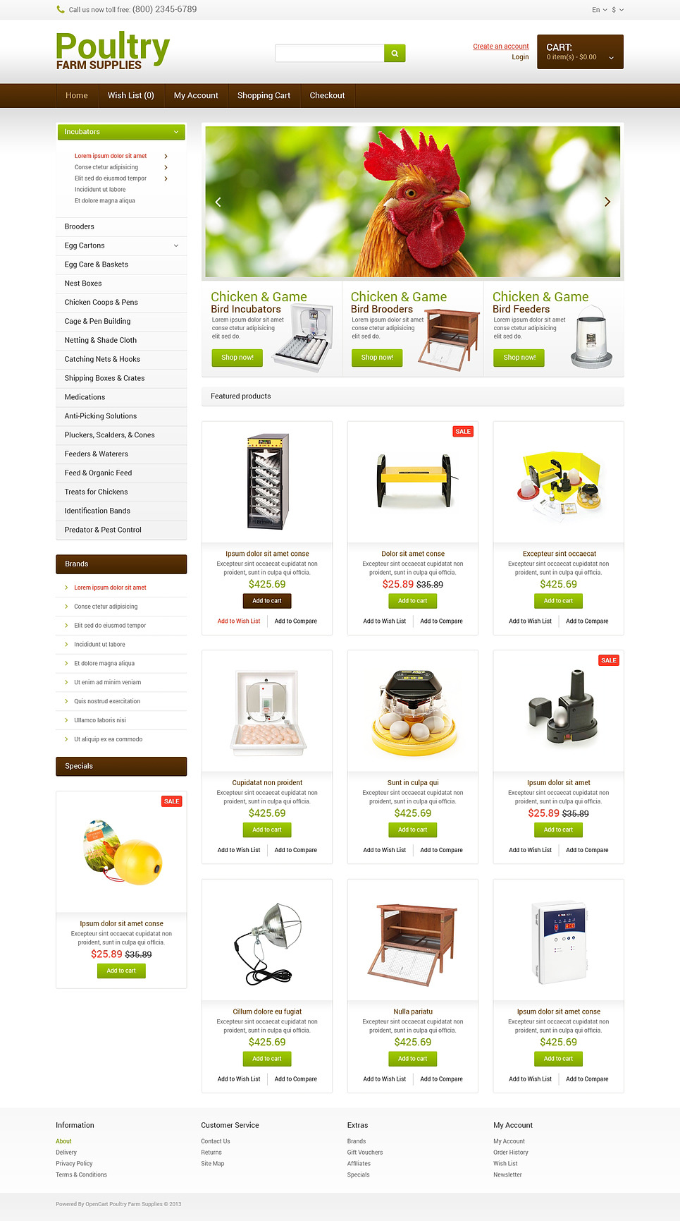 Poultry Farm Responsive OpenCart Template New Screenshots BIG
