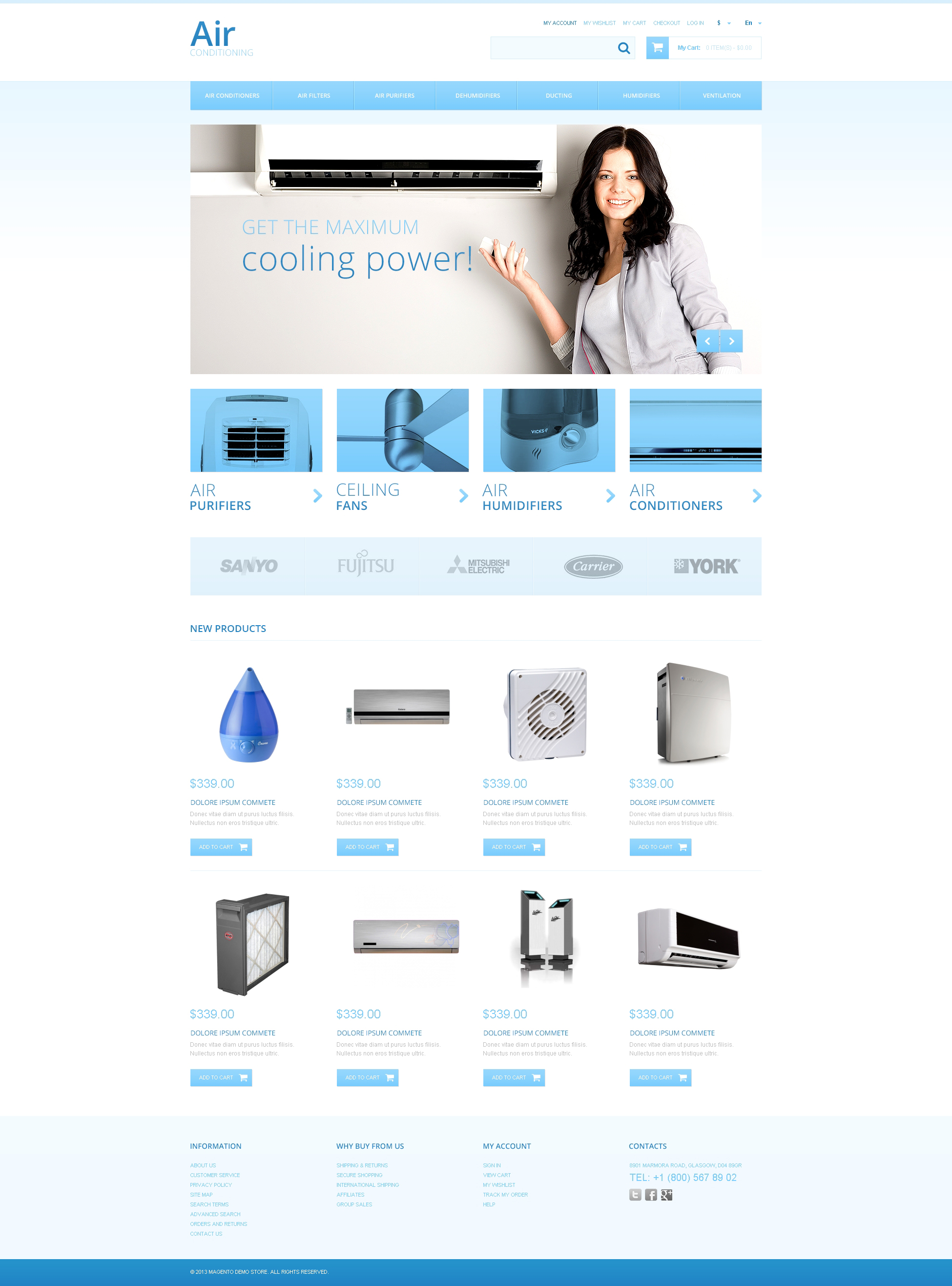 Responsivt Air Conditioners Magento-tema #47323