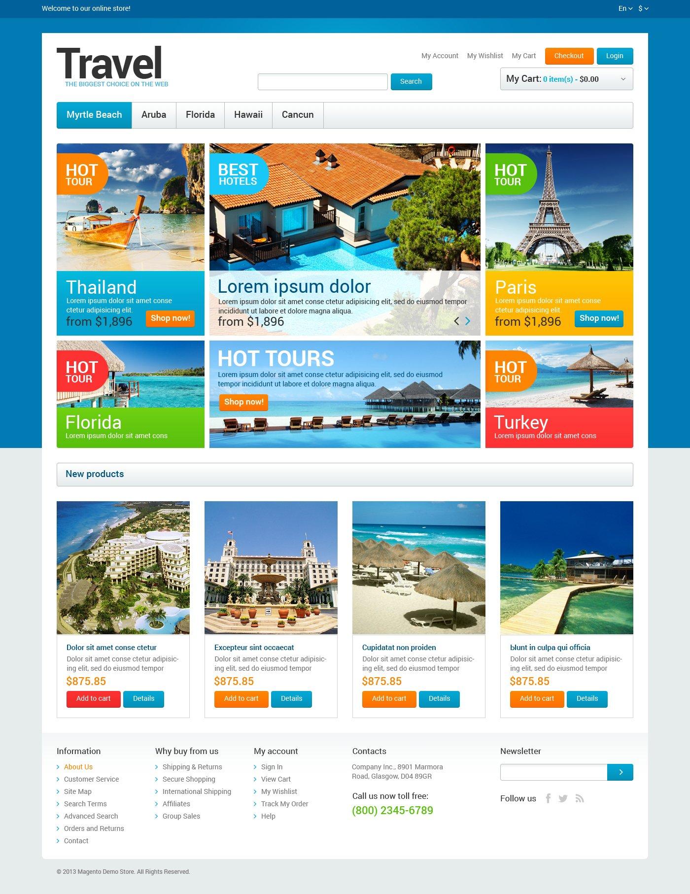 """Tema Magento """"Travel Agency Store"""" #47319"""