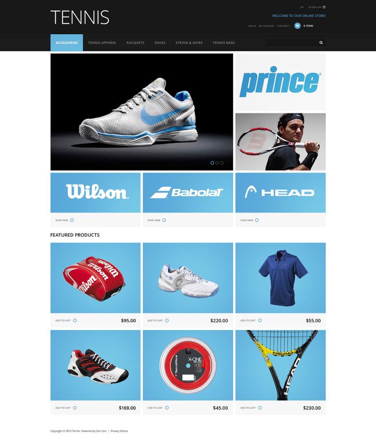 Tennis Accessories ZenCart Template New Screenshots BIG