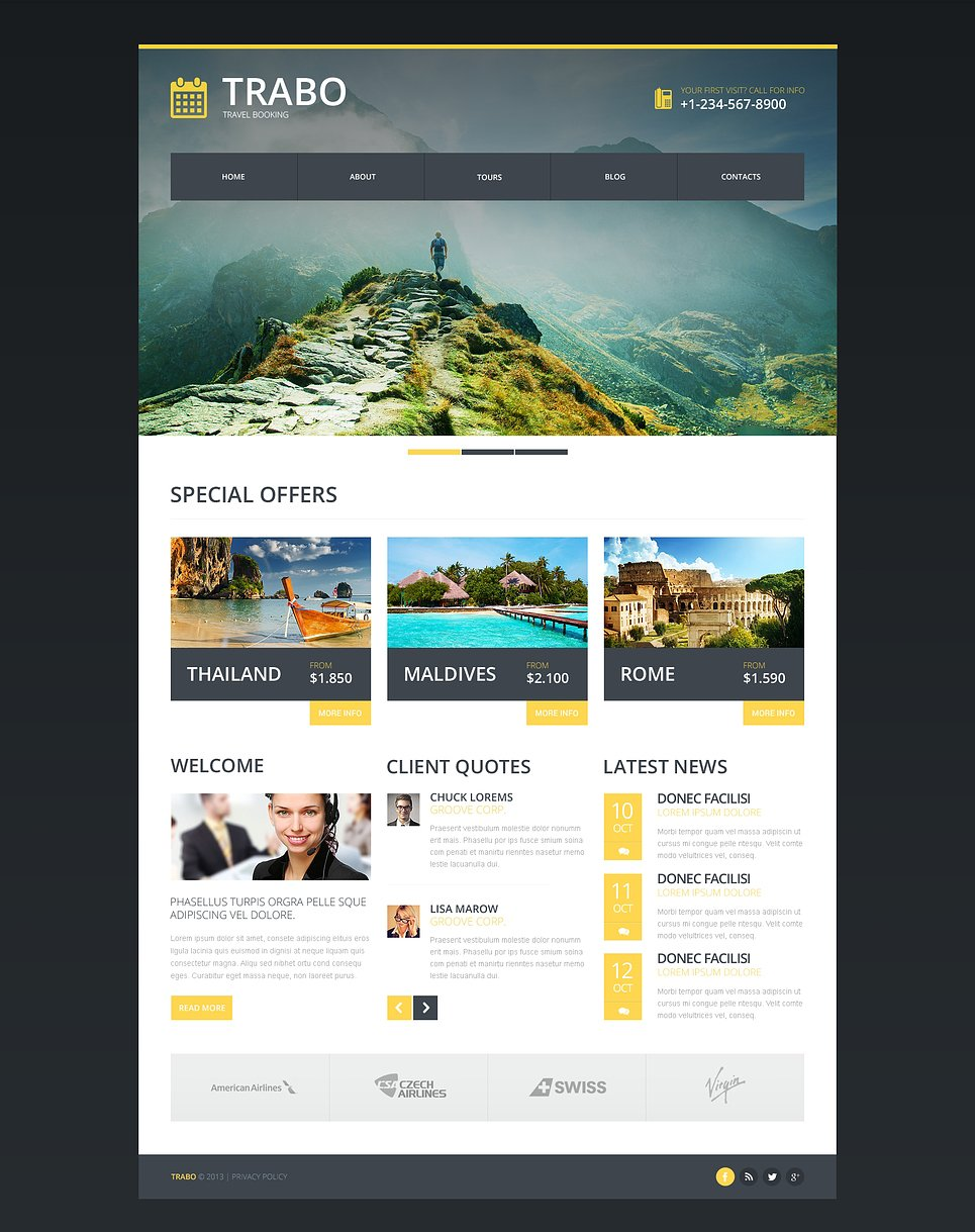 Travel agency responsive website template 47338 An website
