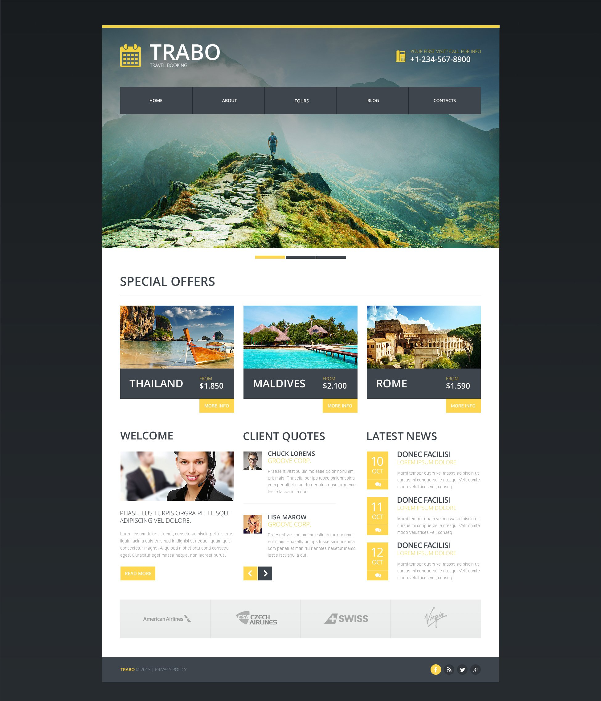 Travel Agency Responsive Website Template #47338
