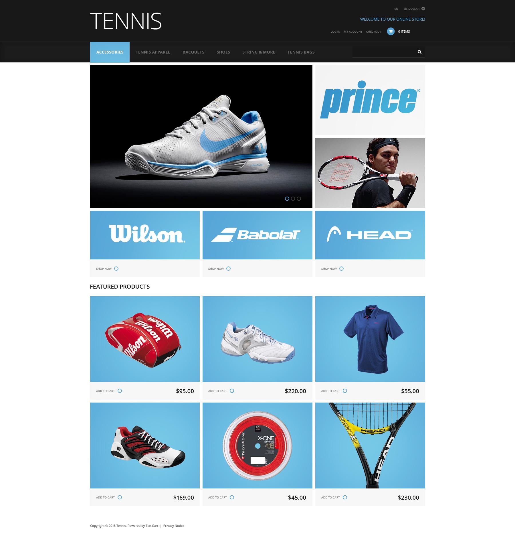 """ZenCart Vorlage namens """"Tenniszubehör"""" #47394"""