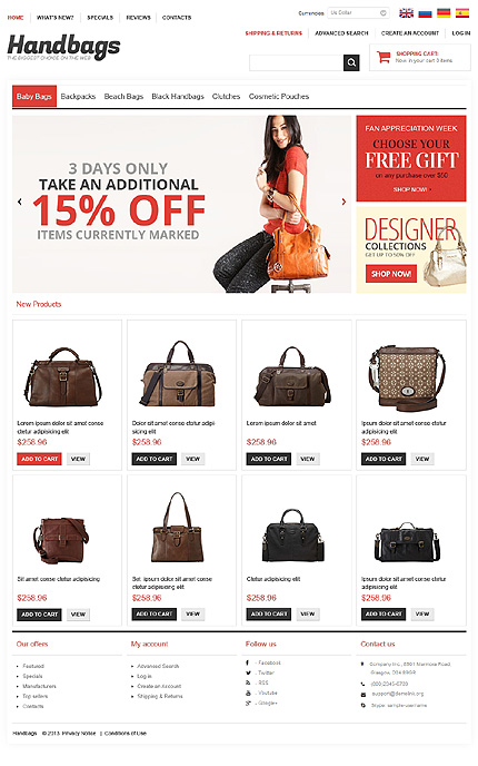 osCommerce Template 47417 Main Page Screenshot