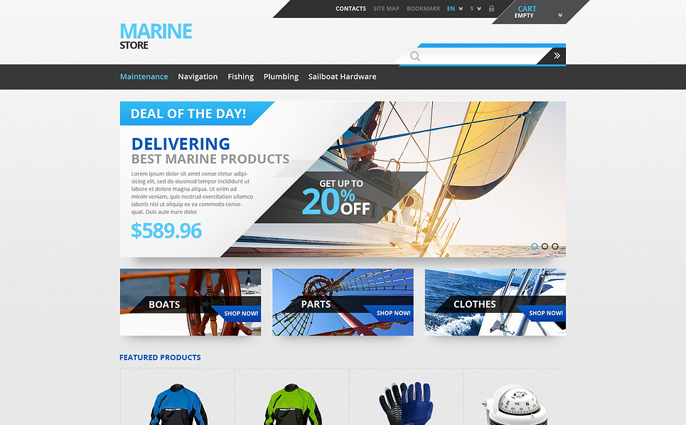 Template PrestaShop Responsive #47419 per Un Sito di Yachting New Screenshots BIG