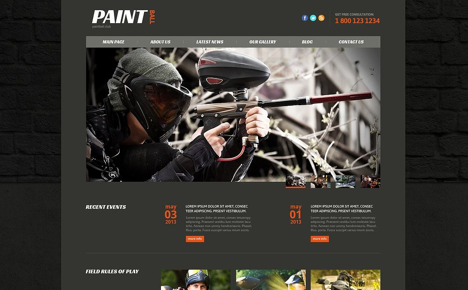 Template Joomla Responsive #47437 per Un Sito di Paintball New Screenshots BIG