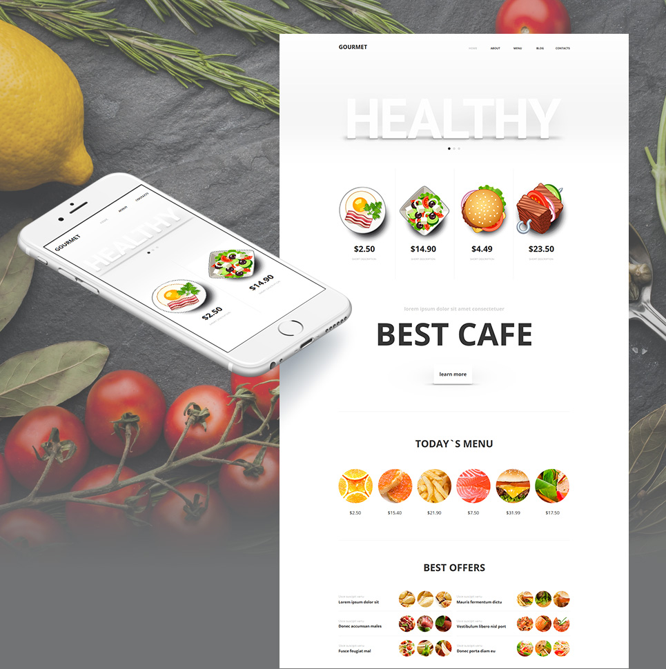 Flat Healthy Food Website Template with Vibrant Images - image