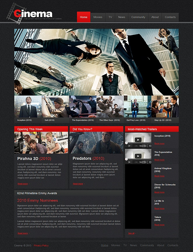 Cinema News Website Template with Photos and Videos - image