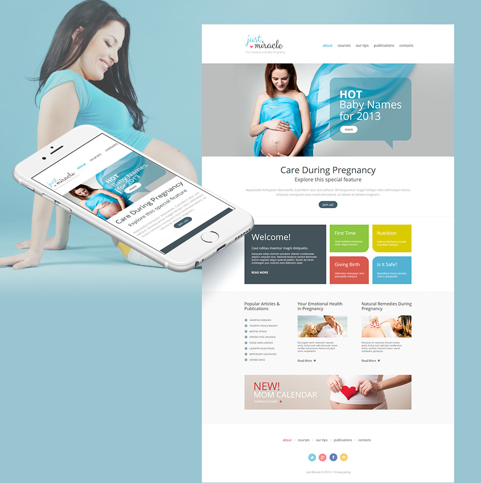 Healthy Pregnancy Website Template in Clean Style - image