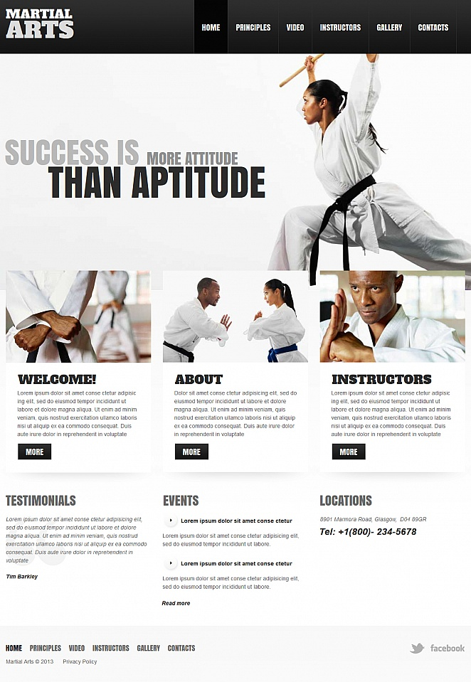 Black and White Martial Arts Website Template - image