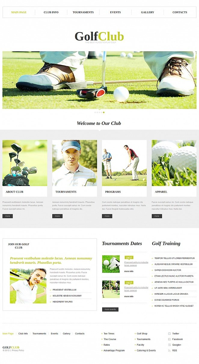 Golf Club Website Template Designed in Clean Style - image