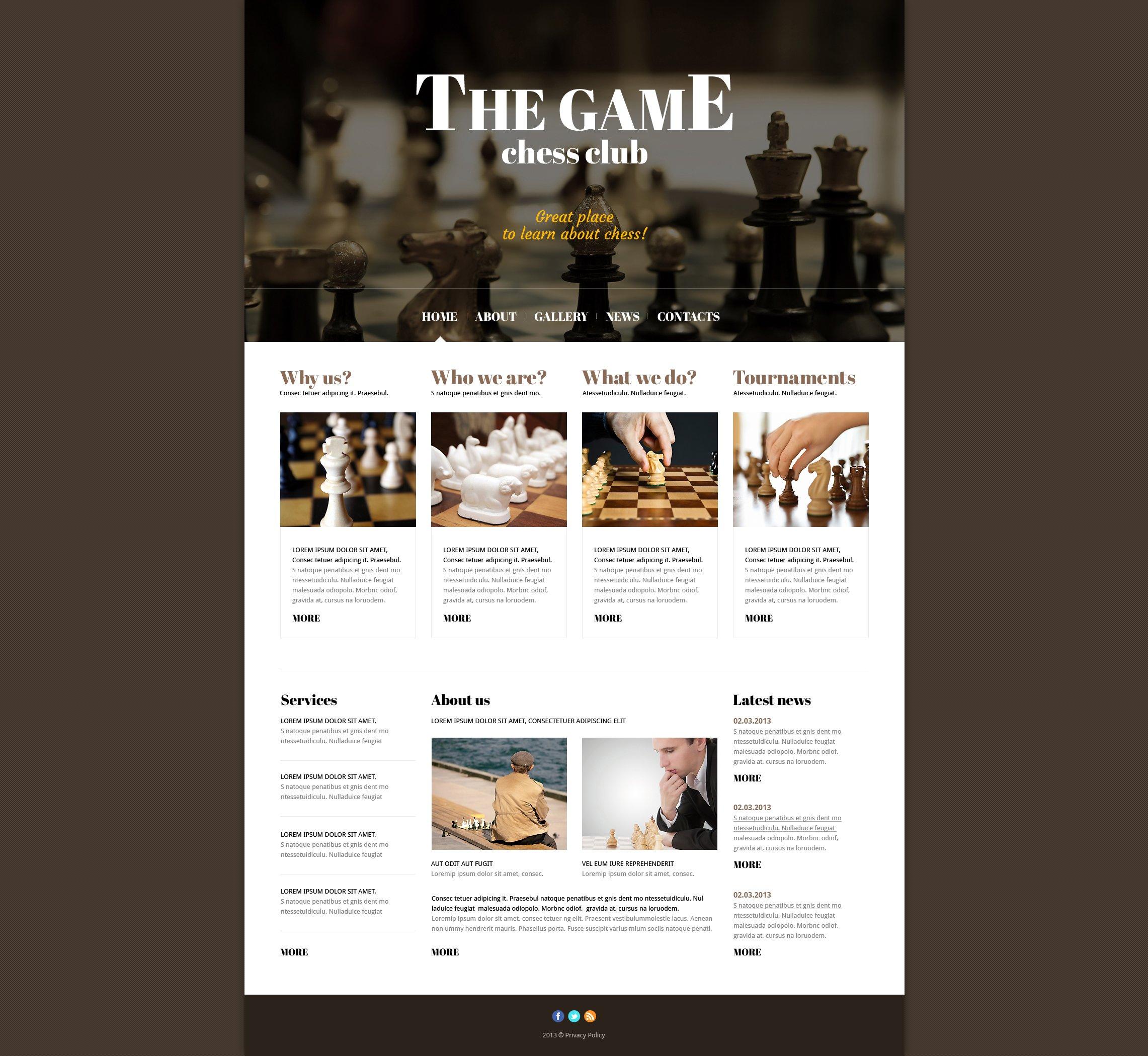 Адаптивний Joomla шаблон на тему шахи №47434 - скріншот
