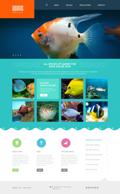 Адаптивный HTML шаблон №47484 на тему рыба