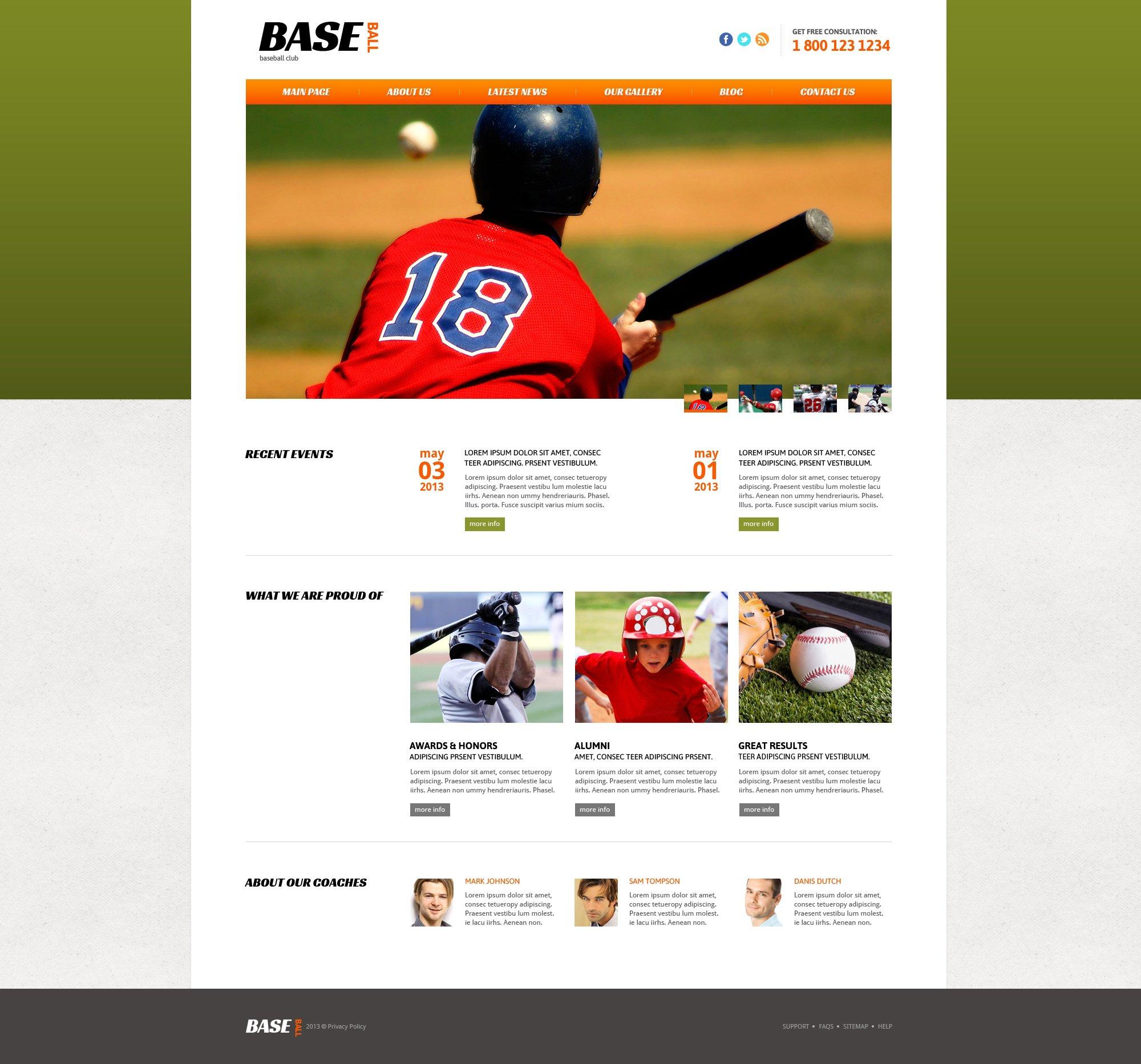 Адаптивный Joomla шаблон №47438 на тему бейсбол - скриншот